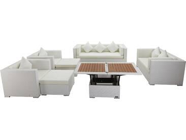 OUTFLEXX Loungemöbel-Set, weiß, Polyrattan, für 9 Personen, inkl. Loungetisch, wasserfeste Kissenbox