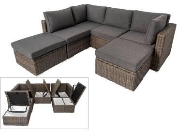 OUTFLEXX Loungemöbel-Set, grau, Polyrattan, 6 Personen, verstellbare Sitzflächen, wasserfeste Kissenbox
