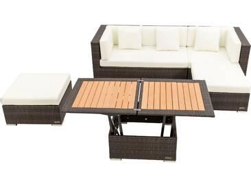 OUTFLEXX Loungemöbel-Set, braun marmoriert, 5 Pers, Polyrattan, wasserfeste Kissenbox, inkl. Loungetisch