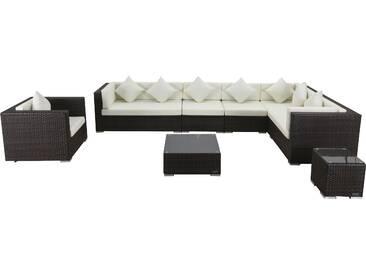 OUTFLEXX Loungemöbel-Set, braun marmoriert, Polyrattan, 8 Pers, wasserfeste Kissenbox, inkl. Beistelltisch