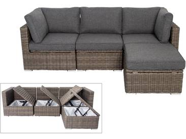 OUTFLEXX Loungegruppe, grau, Polyrattan, 4 Personen, verstellbare Sitzflächen, wasserfeste Kissenbox