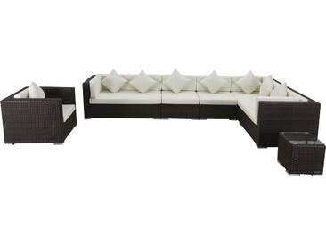 OUTFLEXX Loungemöbel-Set, braun marmoriert, Polyrattan, 8 Pers, wasserfeste Kissenbox