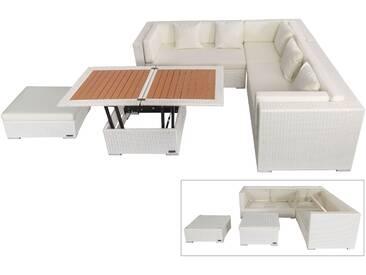 OUTFLEXX Loungemöbel-Set, weiß, Polyrattan, 6 Personen, wasserfeste Kissenbox, inkl. Loungetisch