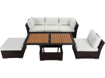 OUTFLEXX Loungemöbel-Set, braun marmoriert, Polyrattan, inkl. Loungetisch, für 5 Personen, wasserfeste Kissenbox
