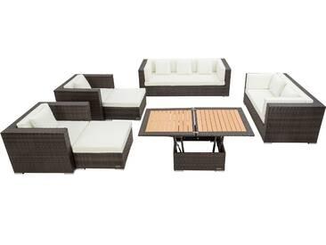 OUTFLEXX Loungemöbel-Set, braun marmoriert, Polyrattan, 9 Pers, wasserfeste Kissenbox, inkl. Loungetisch