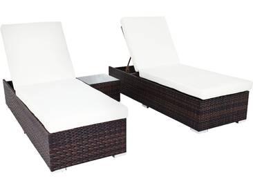 OUTFLEXX 2er-Set Sonnenliegen, braun marmoriert, Polyrattan, je 200x70x35cm, mit Beistelltisch