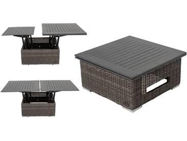 OUTFLEXX Loungetisch höhenverstellbar, grau, Polyrattan, 78/157 x 78 x 40/63 cm
