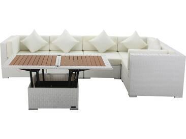 OUTFLEXX Loungemöbel Polyrattan, weiß, für 5 Personen, inkl. Loungetisch, wasserfeste Kissenbox