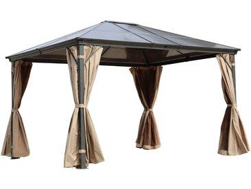 OUTFLEXX Profi Hardtop Pavillon, grau, Aluminium, 3 x 3,6m mit Seitenteilen und Insektennetz
