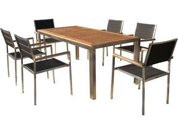 OUTFLEXX Sitzgruppe, schwarz, Edelstahl/Teak, Esstisch 180x90cm, 6 Stapelstühle gepolstert