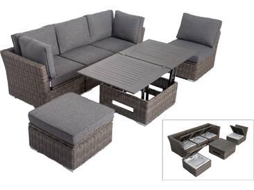 OUTFLEXX Loungemöbel Set, grau, Polyrattan, inkl. Loungetisch, für 5 Personen, wasserfeste Kissenbox
