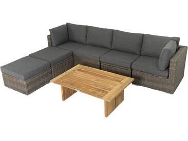 OUTFLEXX Loungegarnitur, Polyrattan/Teakholz, Loungetisch 120x80cm, für 6 Personen, wasserfeste Kissenbox