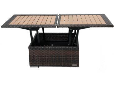 OUTFLEXX Loungetisch höhenverstellbar, braun-marmoriert, Polyrattan, 75/152x75x40/64,5cm