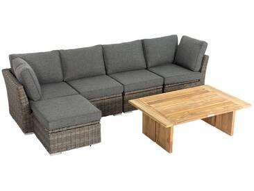 OUTFLEXX Loungegarnitur, Polyrattan/Teakholz, Loungetisch 120x80cm, für 5 Personen, wasserfeste Kissenbox