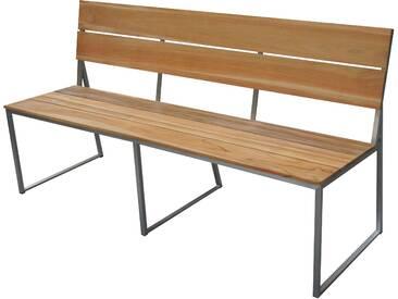 OUTFLEXX 3-Sitzer Gartenbank, silber/natur, Edelstahl/FSC-Teakholz, 160x83cm