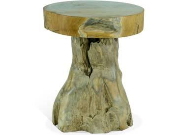 OUTFLEXX Beistelltisch, natur, Teakholzwurzel, Ø50x60cm, handgefertigt, Tischplattenstärke 10cm