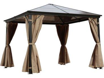 OUTFLEXX Profi Hardtop Pavillon, grau, Aluminium, 3 x 3m mit Seitenteilen und Insektennetz