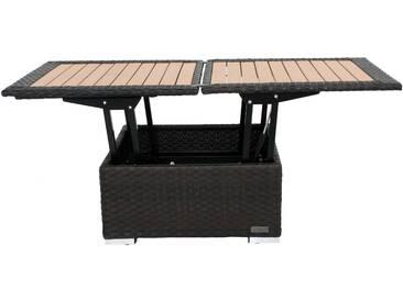 OUTFLEXX Loungetisch höhenverstellbar, braun, Polyrattan, 75/152x75x40/64,5cm