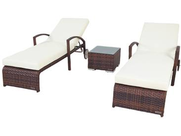 OUTFLEXX 2er-Set Sonnenliegen, braun marmoriert, Polyrattan, 200x70cm, mit Beistelltisch
