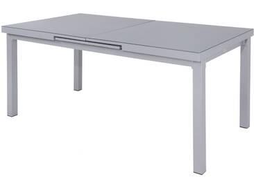 OUTFLEXX Ausziehtisch, silber/grau, Alu/Glas, 180/240x100cm, automatischer Ausziehmechanismus