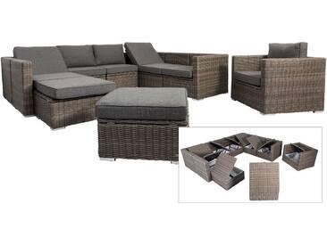 OUTFLEXX Loungemöbel-Set, grau, Polyrattan, 10 Personen, mit Sessel, verstellbare Sitzflächen, wasserfeste Kissenbox