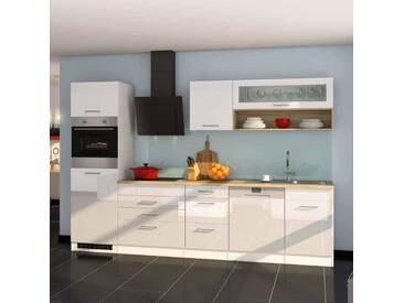 Kücheneinrichtung in Weiß Hochglanz Eiche Sonoma mit Geräten (12-teilig)
