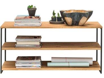 Standregal aus Wildeiche Massivholz und Stahl 46 cm hoch