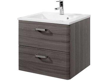 Waschschrank im Dekor Eiche dunkel Einlass-Waschbecken
