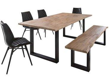 Esszimmergruppe mit Baumkantentisch und Bank Akazie White Wash massiv (6-teilig)