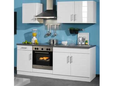 Kücheneinrichtung in Hochglanz-Weiß ohne Geräte (6-teilig)