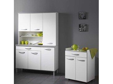 Küchenbuffetschrank in Weiß Grau mit Beistellschrank (2-teilig)