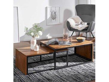 Zweisatztisch aus Sheesham Massivholz Eisen in Schwarz (2-teilig)