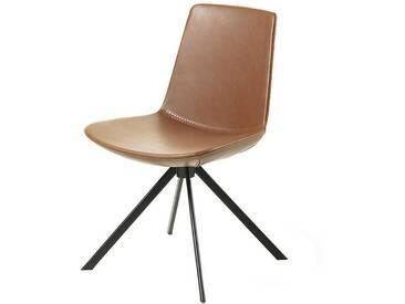 Schalen Küchenstuhl in Braun Kunstleder Metallgestell (2er Set)
