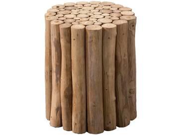 Moderner Couchtisch runde Tischform aus Teak Massivholz