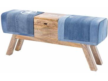 Vintage Sitzbank aus Jeansstoff Truhe