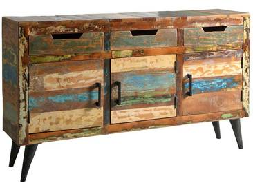 Shabby Chic Sideboard aus Recyclingholz Bunt