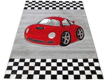 Kinderteppich mit Auto Motiv Rot Grau