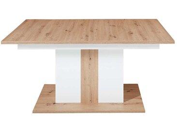 Ausziehbarer Säulentisch in Weiß und Wildeiche Optik modern