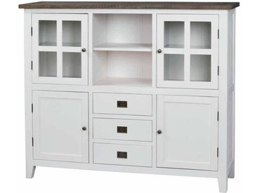Esszimmer Highboard in Weiß Braun Kiefer Massivholz