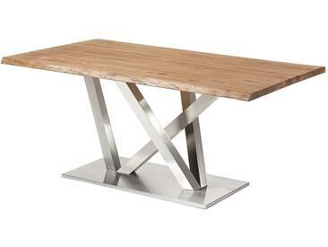 Baumkanten Tisch aus Eiche Massivholz Edelstahl