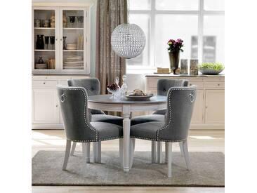 Essgruppe Mit Rundem Tisch Weiß Grau (5 Teilig)