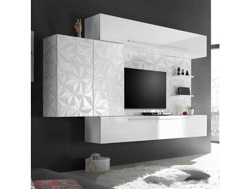 Wohnzimmerschrankwand in Hochglanz Weiß hängend (4-teilig)