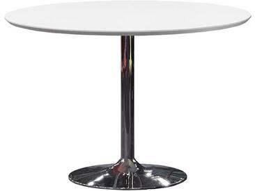 Retro Tisch in Weiß Chrom Rund
