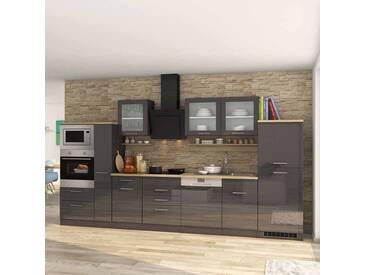 Kücheneinrichtung in Grau Hochglanz Eiche Sonoma mit Geräten (17-teilig)