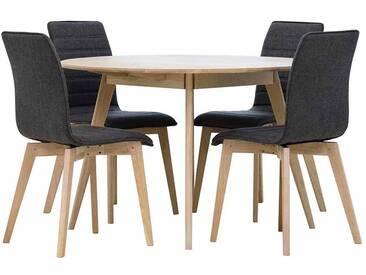 Küchen Sitzgruppe in Eiche Bianco Anthrazit mit rundem Tisch (5-teilig)