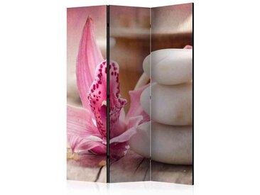 Leinwand Paravent mit pinker Orchideeblüte und weißen Steinen modern