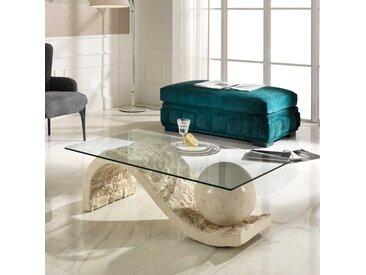 Wohnzimmertisch mit Glasplatte S-förmig