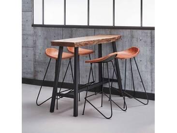 Küchenbar Set mit Baumkante aus Akazie massiv Braun Echtleder (5-teilig)