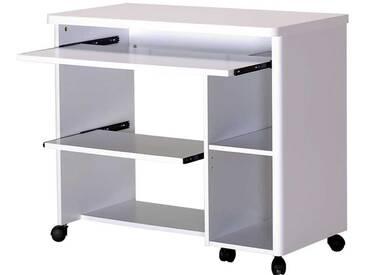 PC Tisch in Weiß Rollbar