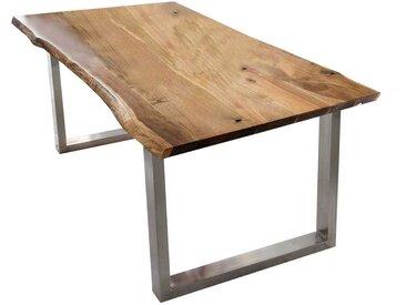 Baumkantentisch aus Akazie Massivholz Edelstahl